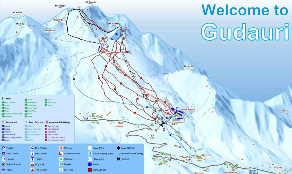Схема лыжных трасс в Гудуаури